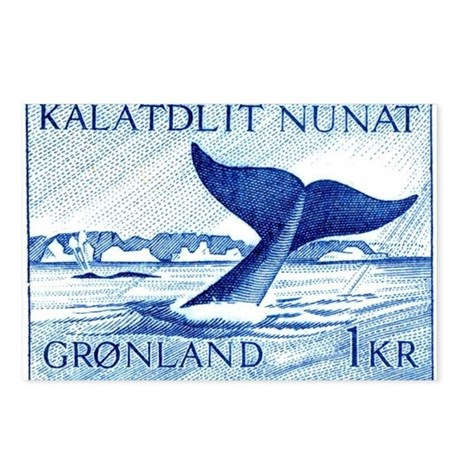 1970 Greenland Whale Tail Postage Stamp Postcards