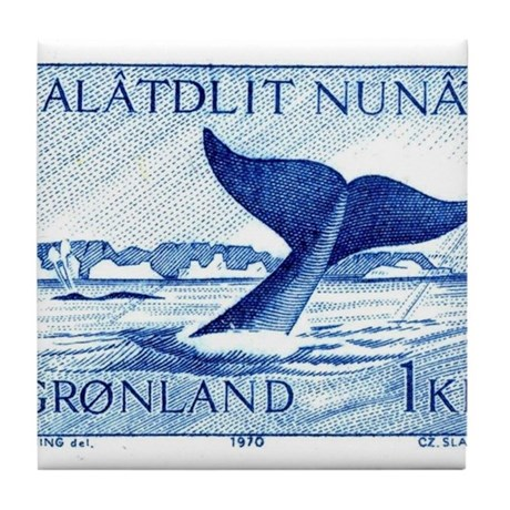 1970 Greenland Whale Tail Postage Stamp Tile Coast