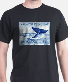 1970 Greenland Whale Tail Postage Stamp T-Shirt