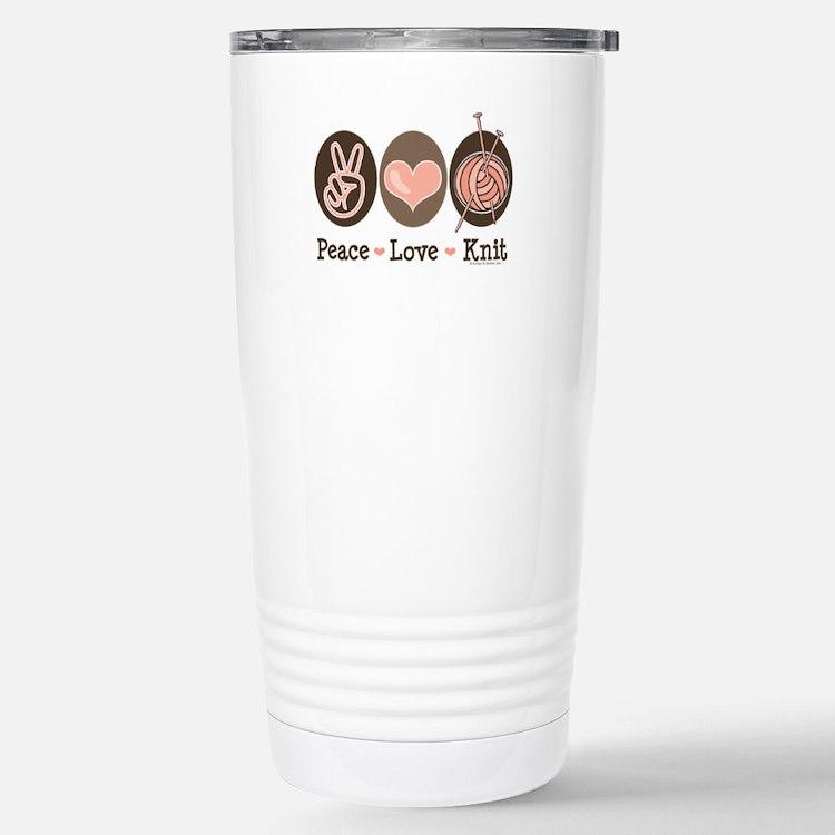 Cute Peace love knit Travel Mug