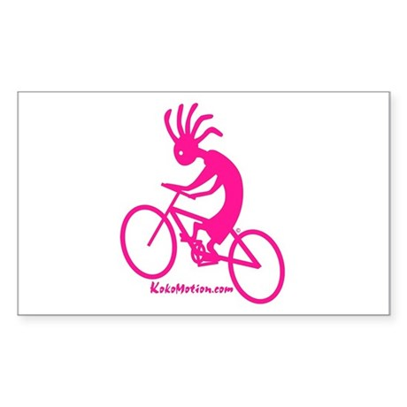 Kokopelli Mountain Biker Rectangle Sticker