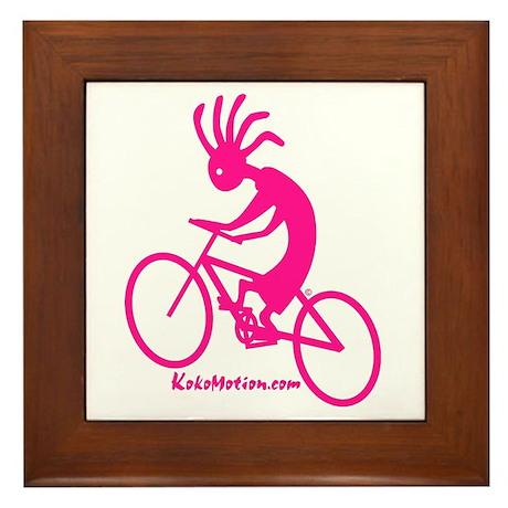 Kokopelli Mountain Biker Framed Tile