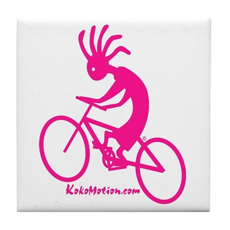 Kokopelli Mountain Biker Tile Coaster