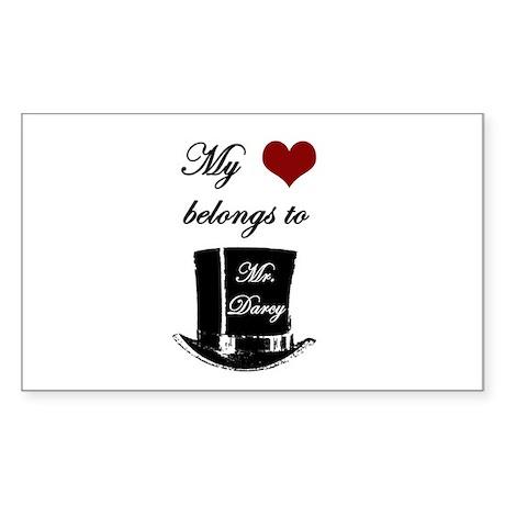Mr. Darcy Heart Sticker (Rectangle)