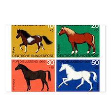 1969 Germany Horses Set Postage Stamps Postcards (