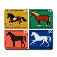 1969 Germany Horses Set Postage Stamps Mousepad