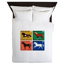 1969 Germany Horses Set Postage Stamps Queen Duvet