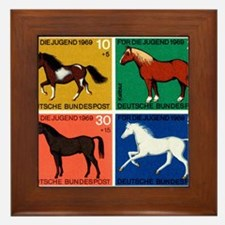 1969 Germany Horses Set Postage Stamps Framed Tile