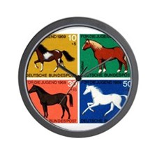 1969 Germany Horses Set Postage Stamps Wall Clock