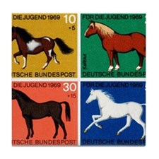 1969 Germany Horses Set Postage Stamps Tile Coaste