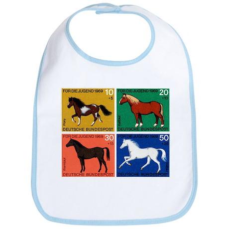 1969 Germany Horses Set Postage Stamps Bib