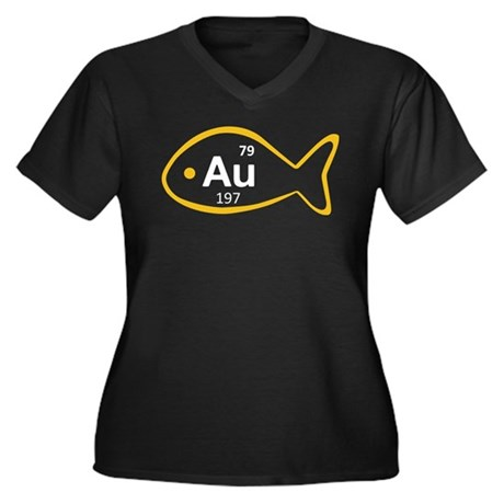 Goldfish Women's Plus Size V-Neck Dark T-Shirt