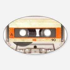 Retro Vintage Style Cassette Tape Sticker (Oval)