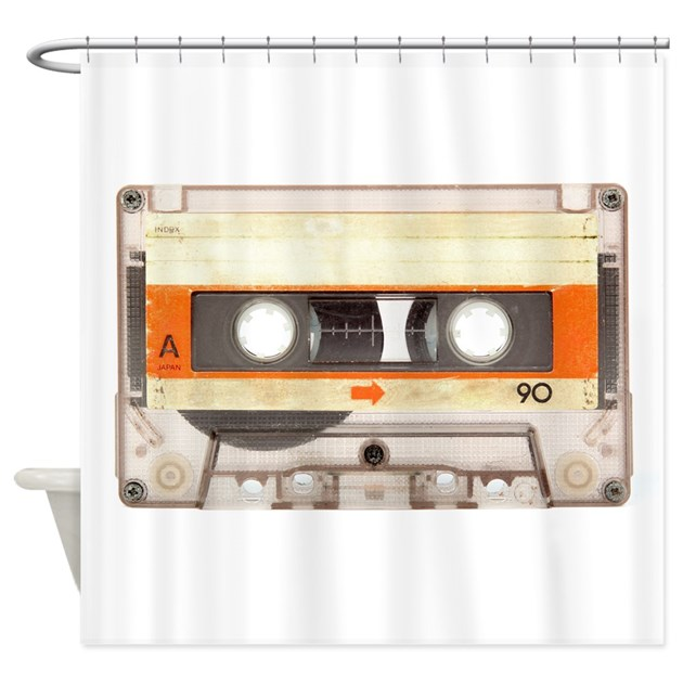 Retro Vintage Style Cassette Tape Shower Curtain by