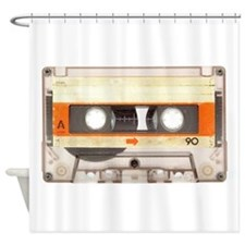 Retro Vintage Style Cassette Tape Shower Curtain