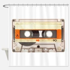 Retro Vintage Style Cassette Tape Shower Curtain