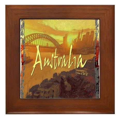 australia art illustration Framed Tile