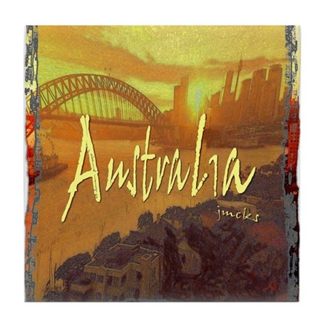 australia art illustration Tile Coaster