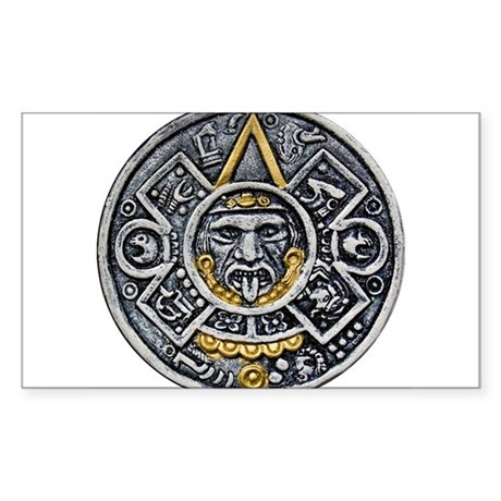 Silver and Gold Ancient Aztec Mayan Sun Dial Stick