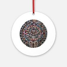 Mulit-Coloured Aztec Sun Dial Ornament (Round)