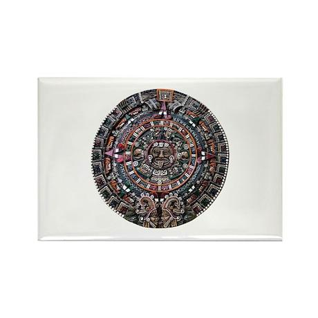 Mulit-Coloured Aztec Sun Dial Rectangle Magnet