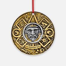 Gold Silver Sun Dial Ornament (Round)