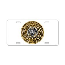 Gold Silver Sun Dial Aluminum License Plate