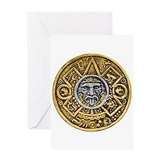 Gold Silver Sun Dial Greeting Card