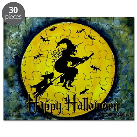 Scottish Terrier and Halloween Witch Puzzle