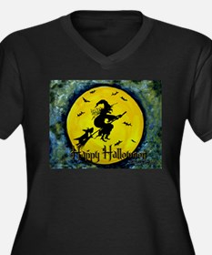 Scottish Terrier and Halloween Witch Women's Plus