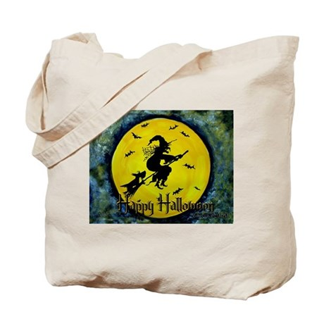 Scottish Terrier and Halloween Witch Tote Bag