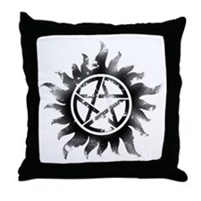 Anti-Possession Symbol Black (Glow) Throw Pillow