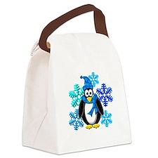Penguin Snowflakes Winter Design Canvas Lunch Bag