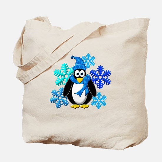 Penguin Snowflakes Winter Design Tote Bag
