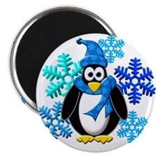 Penguin Snowflakes Winter Design Magnet
