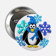 "Penguin Snowflakes Winter Design 2.25"" Button"