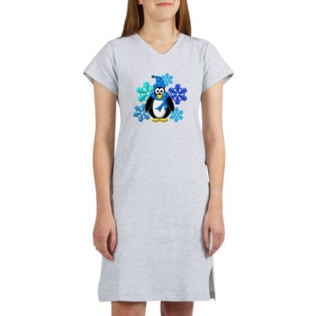 Penguin Snowflakes Winter Design Women's Nightshir