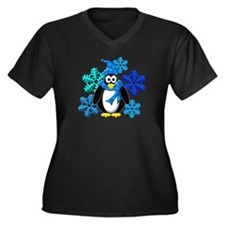 Penguin Snowflakes Winter Design Women's Plus Size
