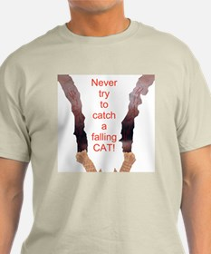 Falling Cat Ash Grey T-Shirt