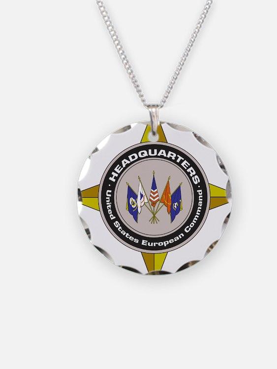 EUCOM emblem Necklace Circle Charm