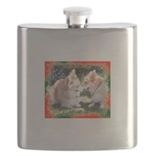 Happy Holidays Corgi Greeting Flask