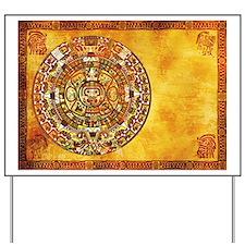 Aztec Mayan Inca Style Sun Dial Yard Sign