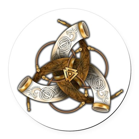Odin's Triple Horns Round Car Magnet