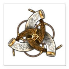 "Odin's Triple Horns Square Car Magnet 3"" x 3"""