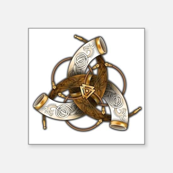 "Odin's Triple Horns Square Sticker 3"" x 3"""