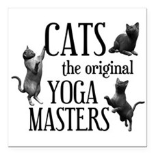 """Cat Yoga Square Car Magnet 3"""" x 3"""""""