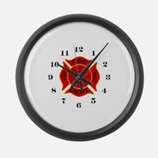 Funny Firefighters Large Wall Clock