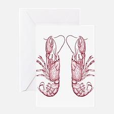 Vintage Lobsters in Red Greeting Card
