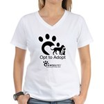 Opt to Adopt black and white Women's V-Neck T-Shir
