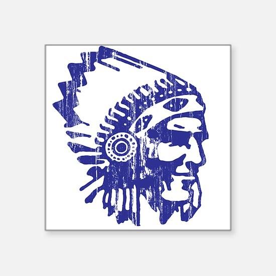 "Blue Indian Vintage Square Sticker 3"" x 3"""